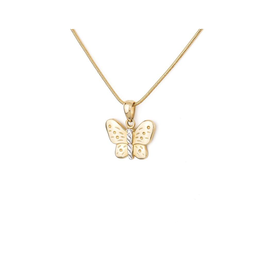 Zlatý prívesok motýľ 7620