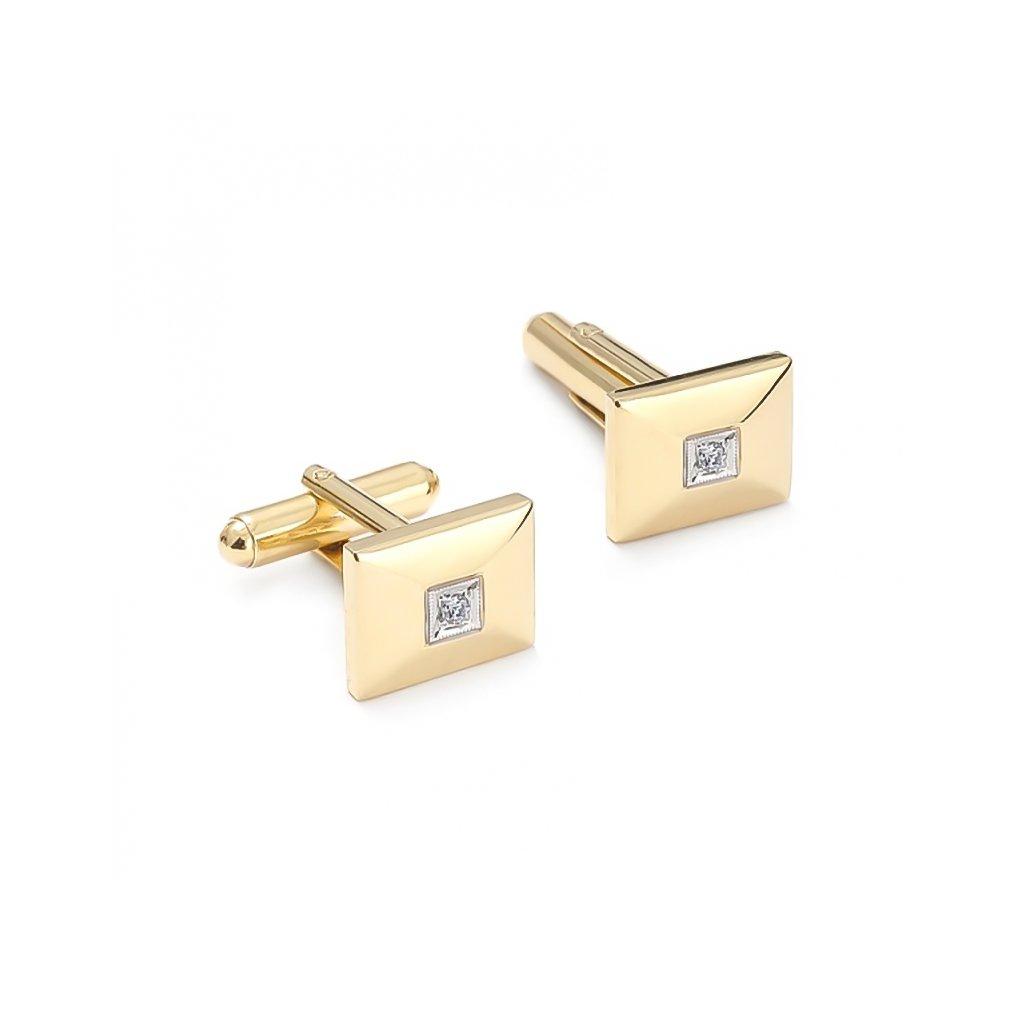 Zlaté manžetové gombíky s briliantami 0,04 ct