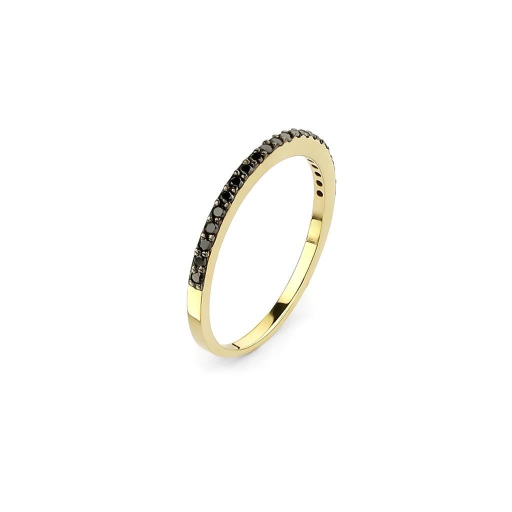 Zlatý prsteň s čiernymi diamantami 0,18 ct