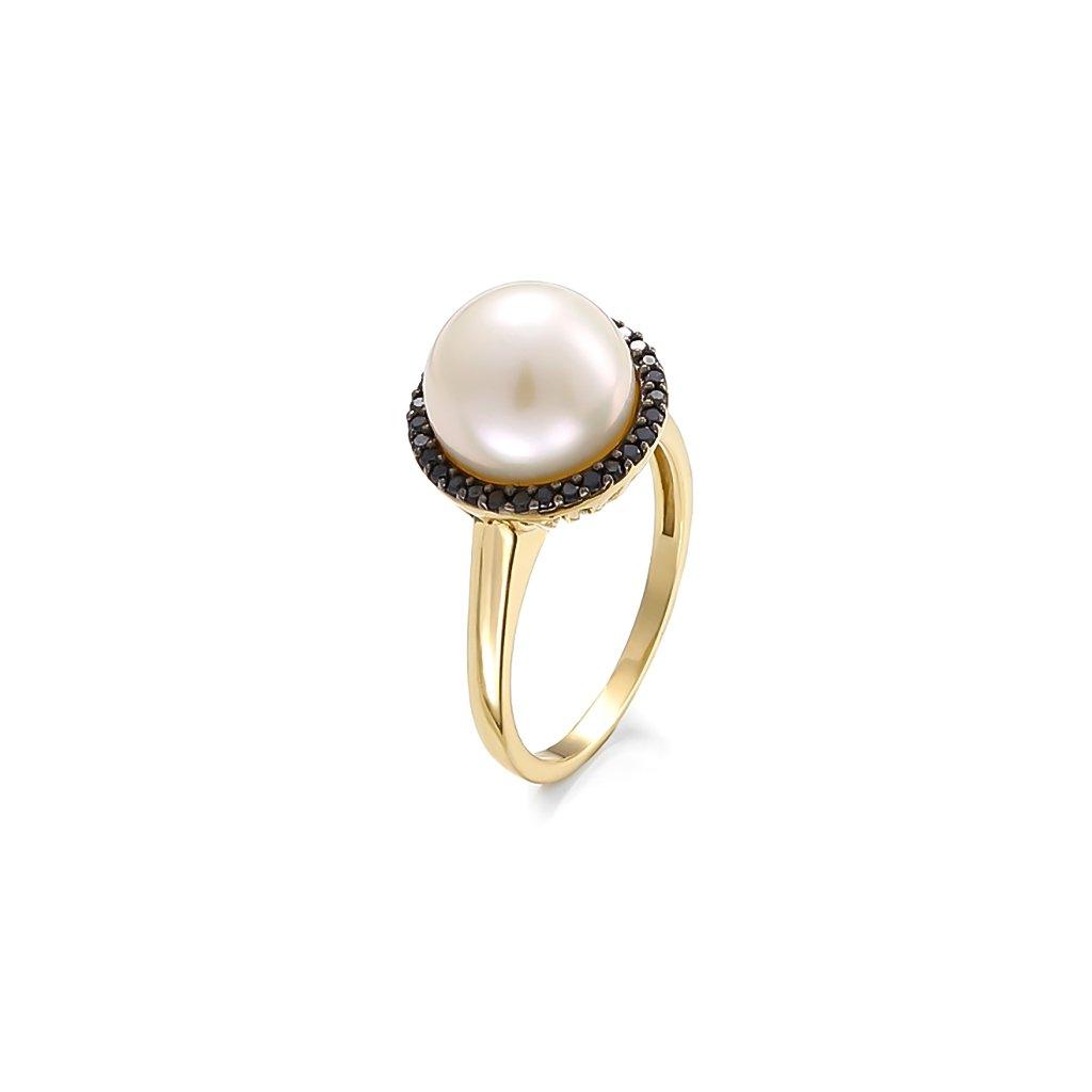 Zlatý prsteň s perlou a čiernymi diamantami 0,24 ct