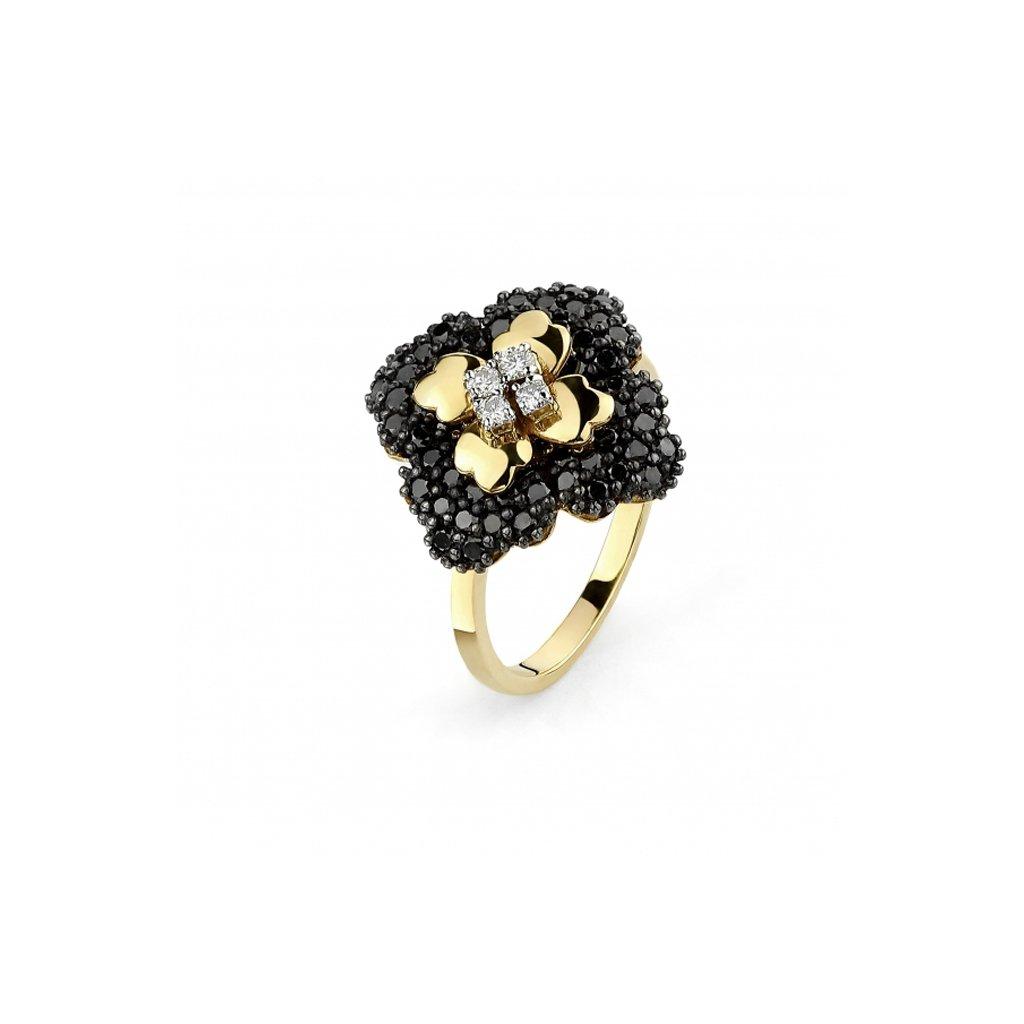 Zlatý prsteň s čiernymi a bielymi diamantami 0,98 ct