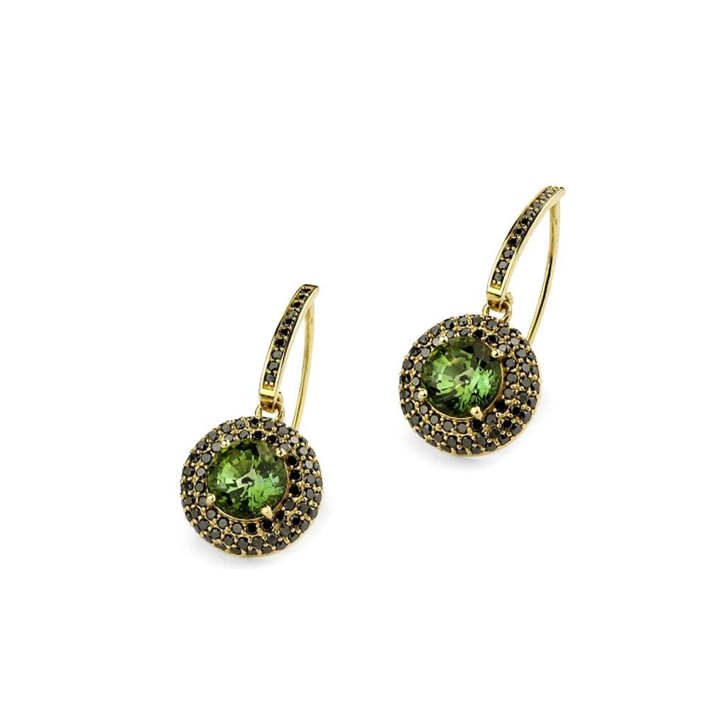 Zlaté náušnice s turmalínom a čiernymi diamantami 6,06 ct
