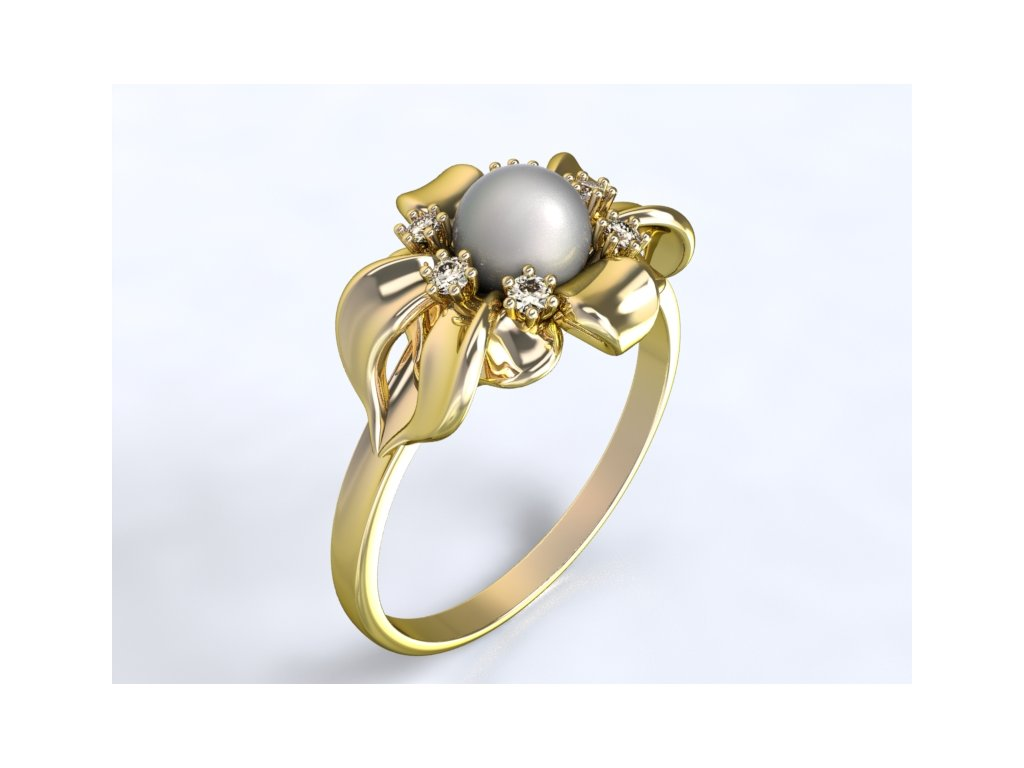 32bff54f2 Au 585/1000 Zlatý prsten s kameny a perlou -