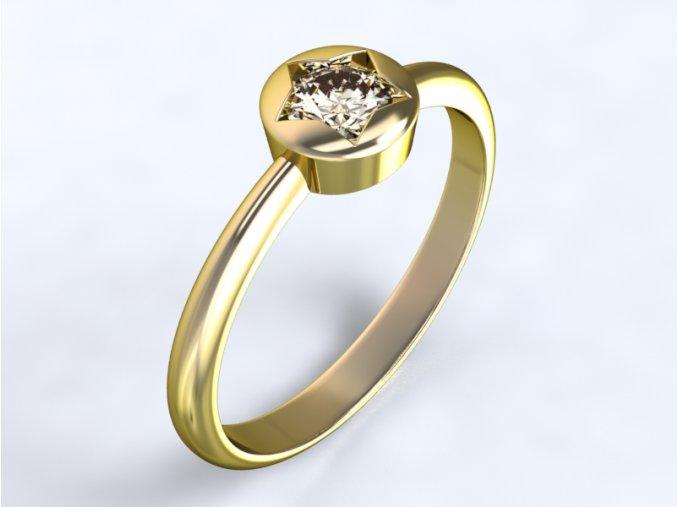 Au 585/1000 Zlatý prsten s kamenem