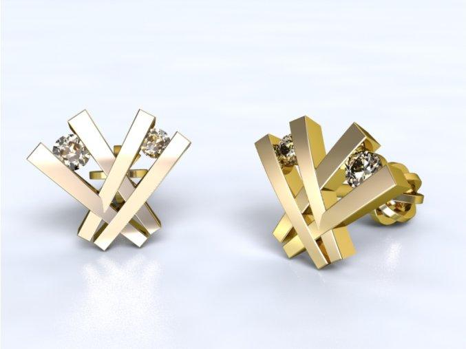Au 585/1000 Zlaté náušnice šroubek s kameny