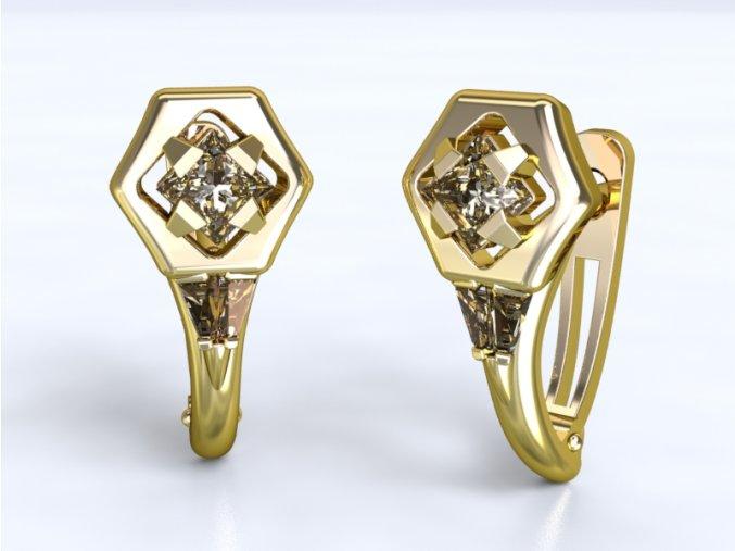Au 585/1000 Zlaté náušnice patent s kameny