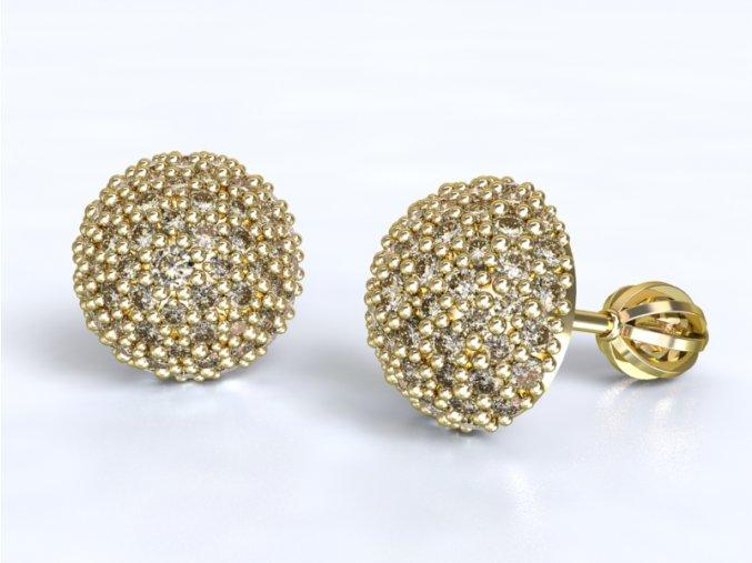 Au 585/1000 Zlaté náušnice půlkulička šroubek s kameny
