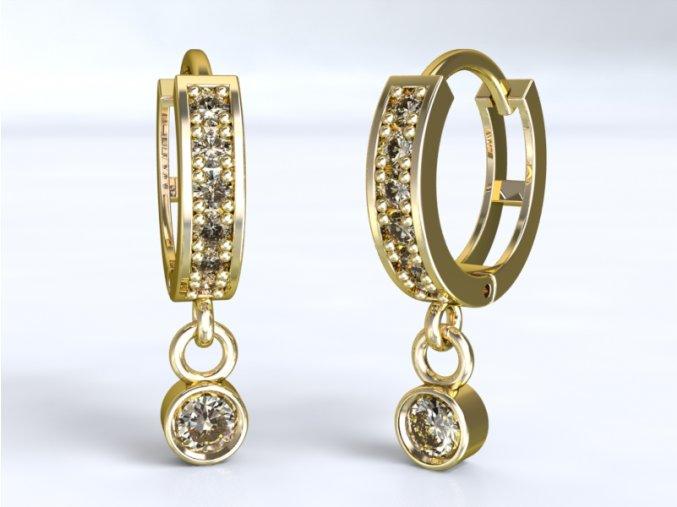 Au 585/1000 Zlaté náušnice kroužky