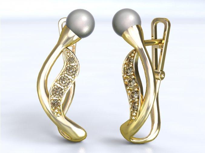 Au 585/1000 Zlaté náušnice patent s perlou