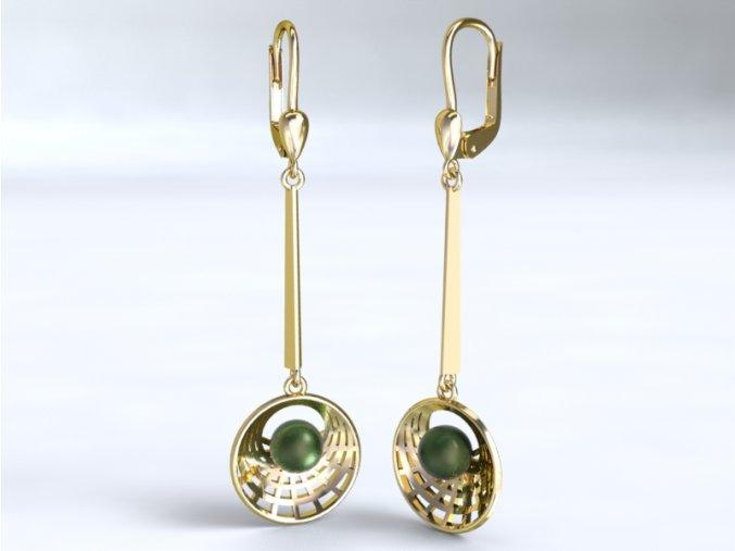 Au 585/1000 Zlaté náušnice visací s perlou