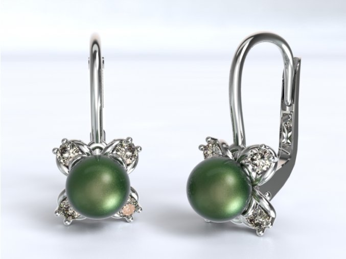 Au 585/1000 Zlaté náušnice s kameny a perlou