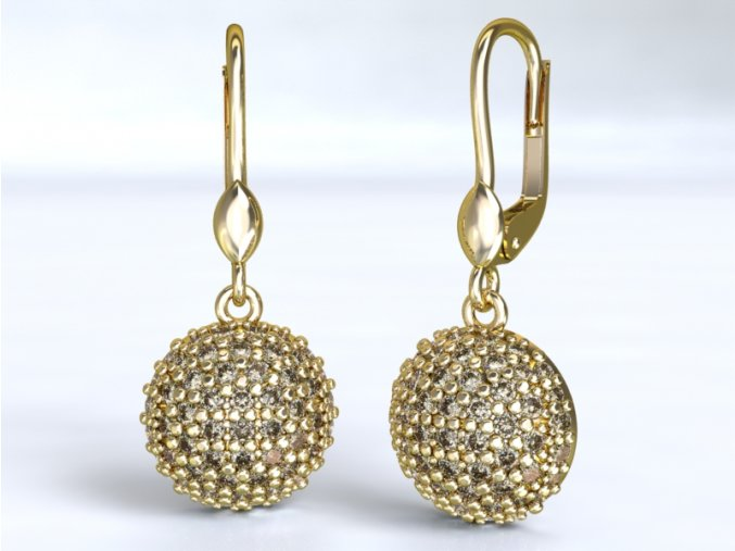 Au 585/1000 Zlaté náušnice visací s kameny