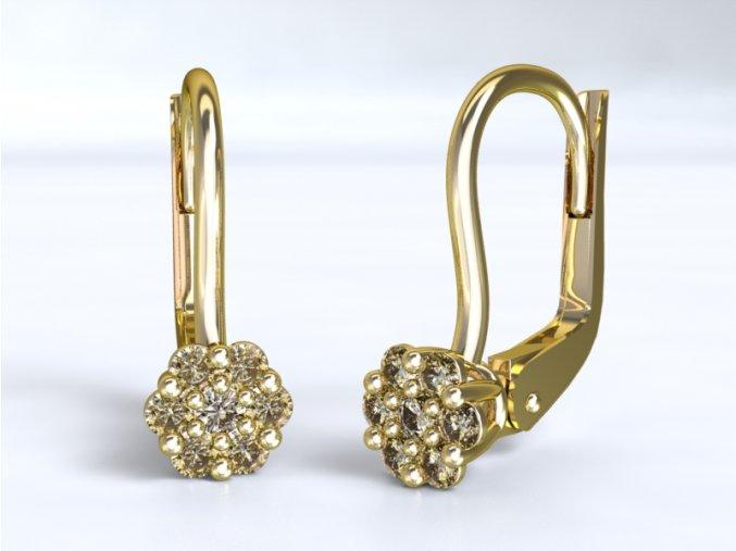 Au 585/1000 Zlaté náušnice s kameny