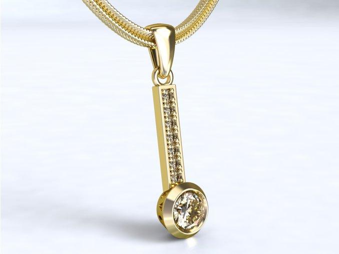 Au 585/1000 Zlatý přívěsek s kameny