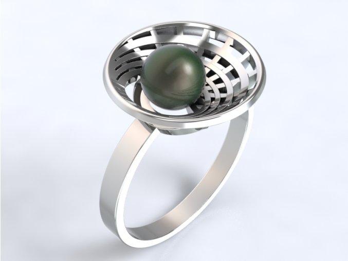 Au 585/1000 Zlatý prsten s perlou