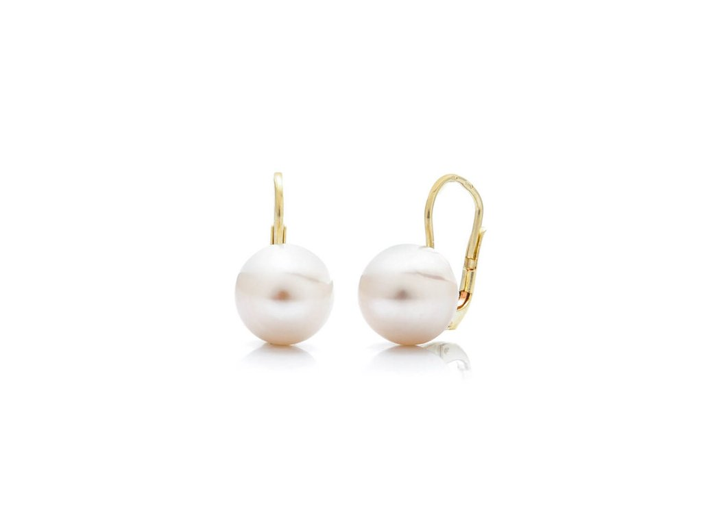 zlaté náušnice se světlou perlou (DST)