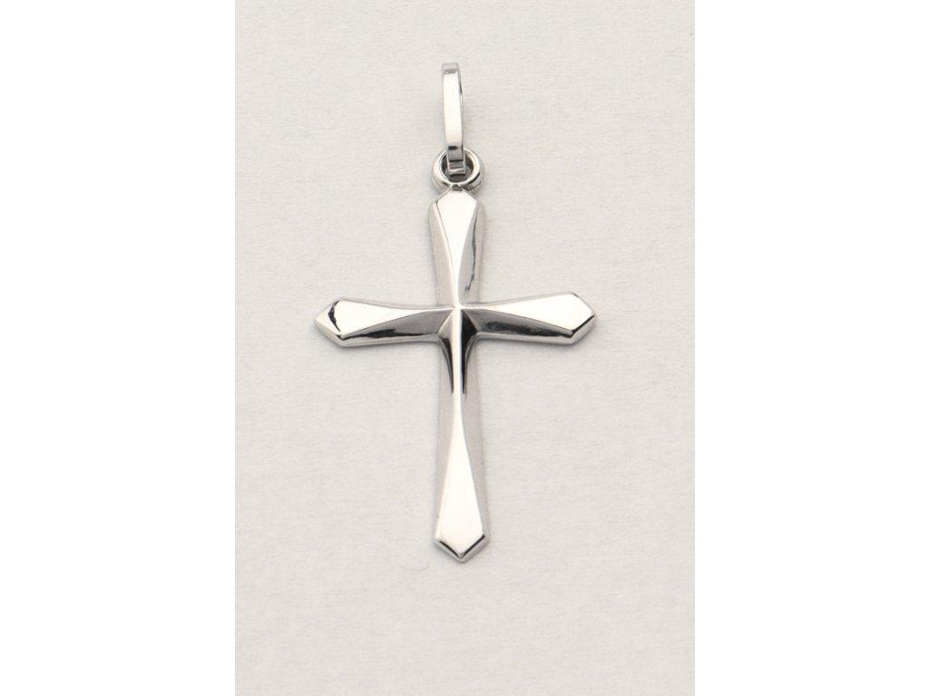 Křížek z bílého zlata celozlatý