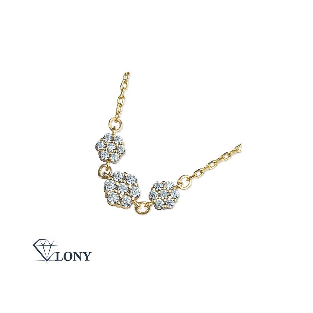 Lilia náhrdelník ze žlutého zlata se zirkony