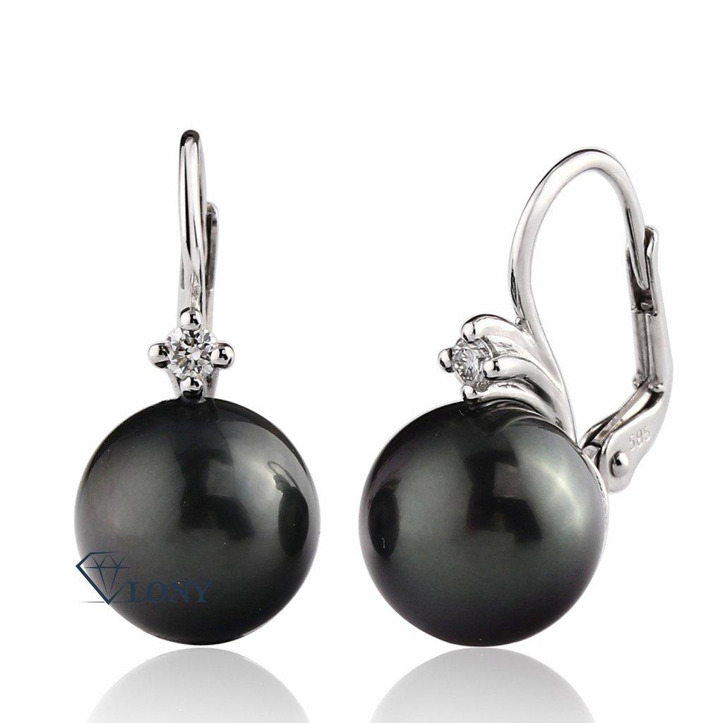 Morgan diamantové náušnice z bílého zlata s velkou tahitskou perlou
