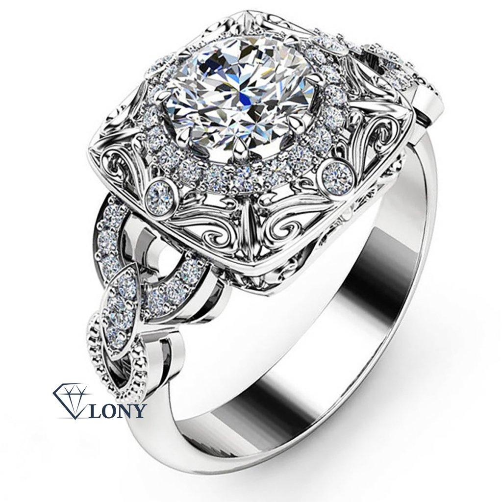 Noblesní prsten Euphrosyne, bílé zlato a brilianty
