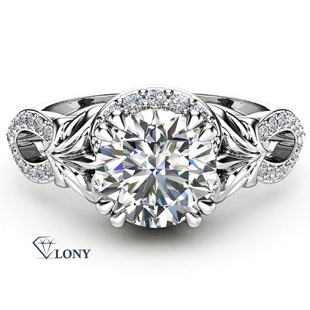 Zářivý prsten Charming, bílé zlato a brilianty