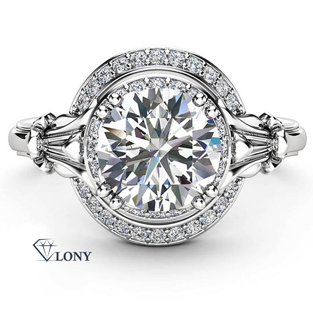 Noblesní prsten Haeven, bílé zlato a brilianty