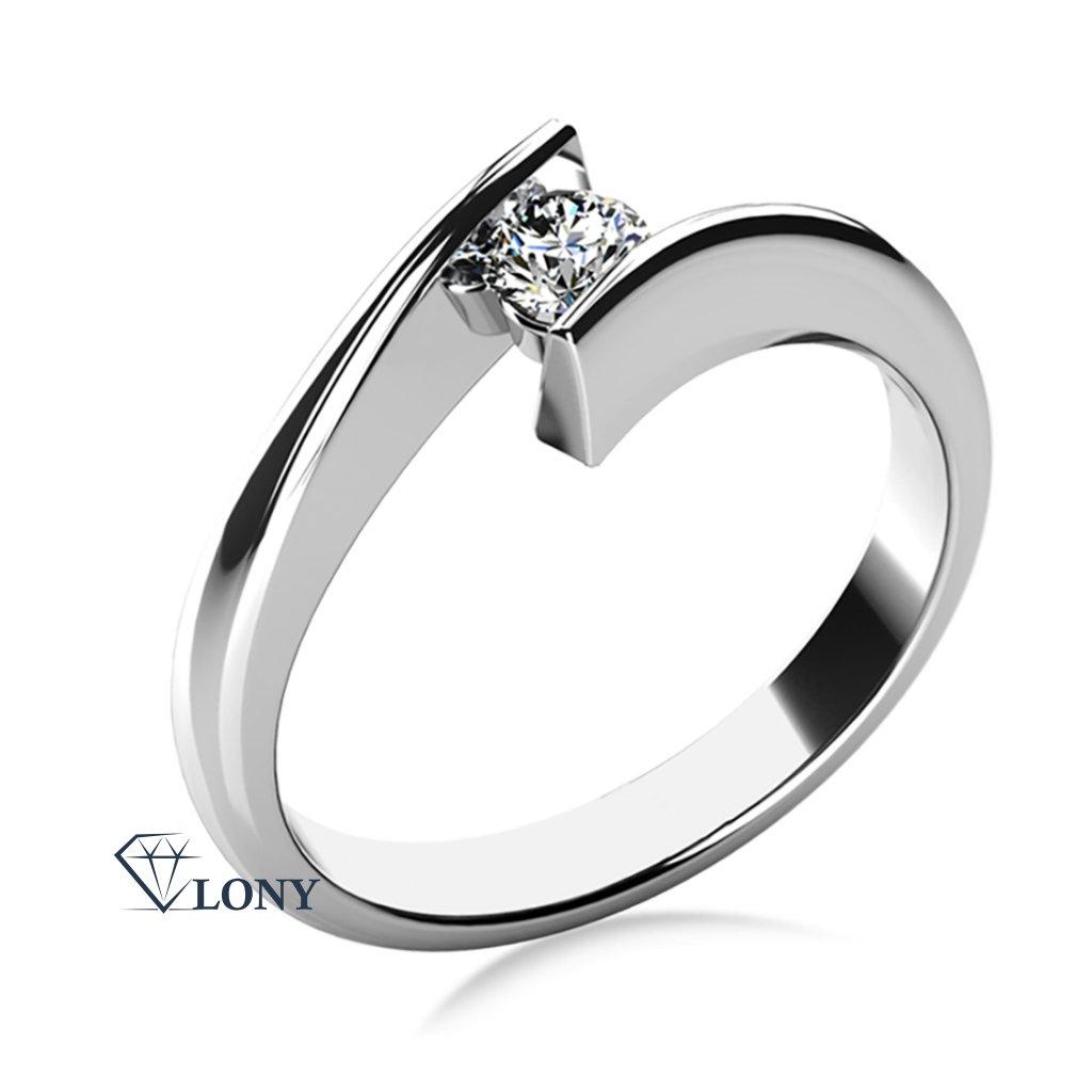 Zásnubní prsten Viky, bílé zlato s výrazným zirkonem