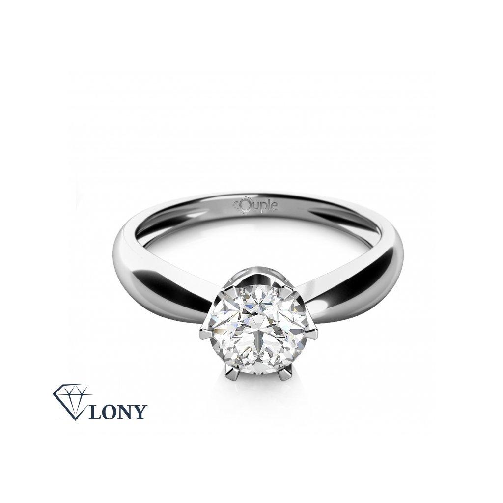 Zásnubní prsten Emily, bílé zlato se zirkonem