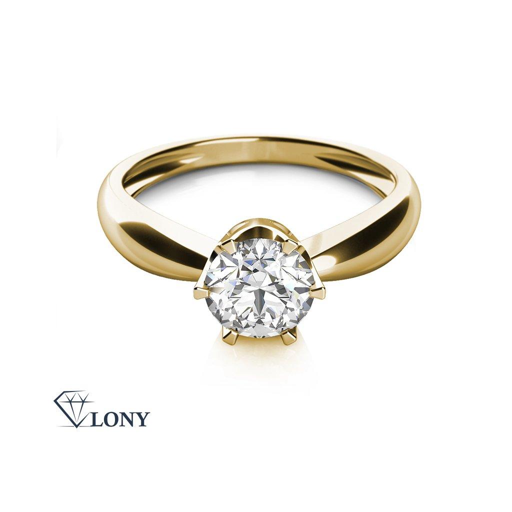 Zásnubní prsten Crown, žluté zlato se zirkonem