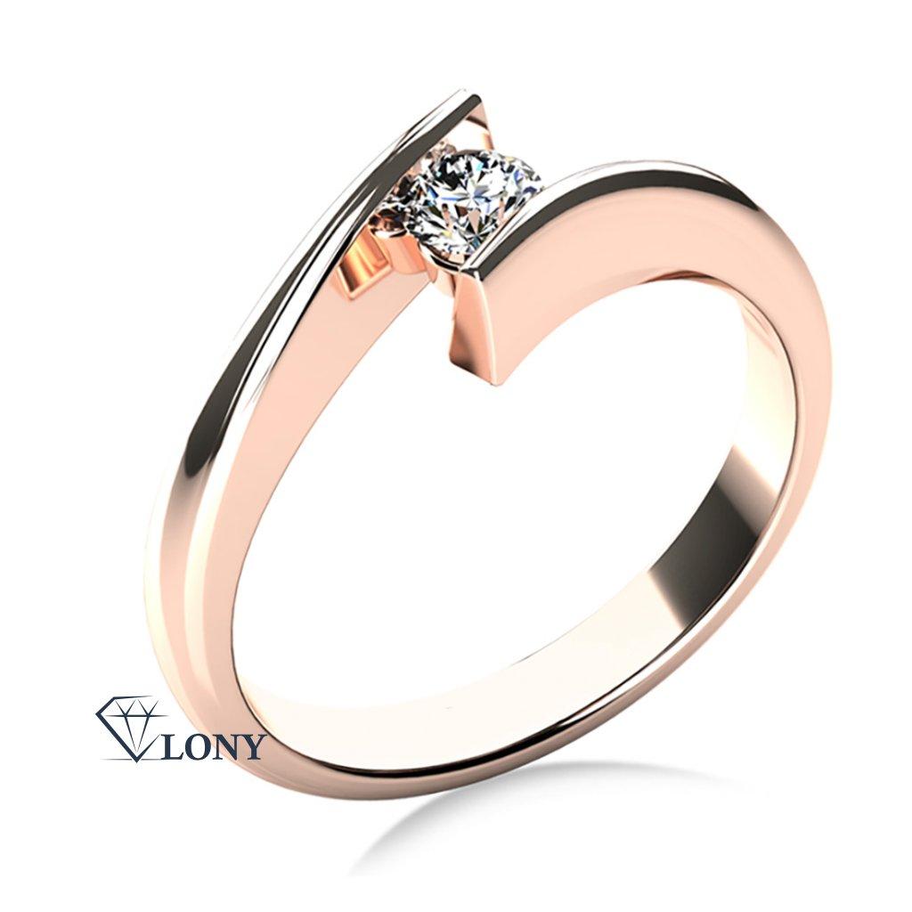 Zlatnictví LONY, zásnubní prsten, růžové zlato s briliantem
