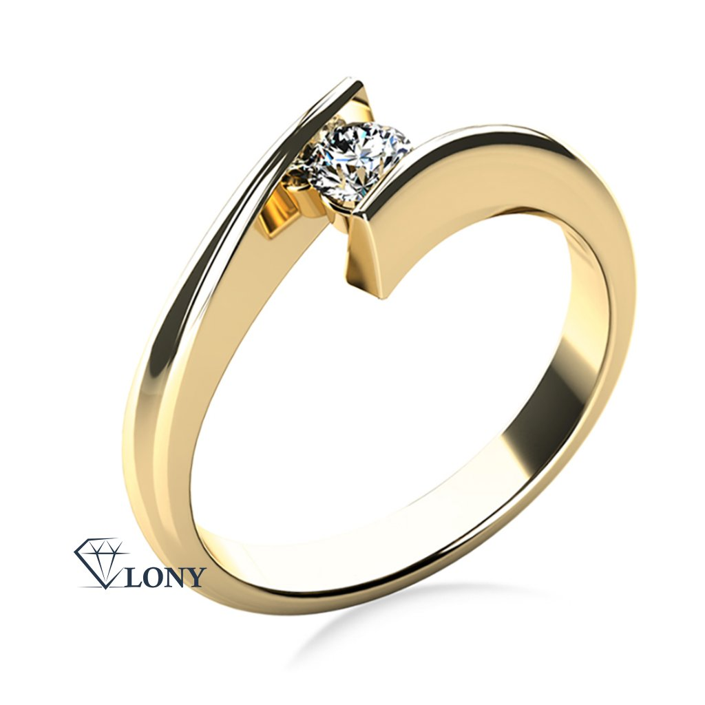 Zlatnictví LONY, zásnubní prsten, žluté zlato, briliant