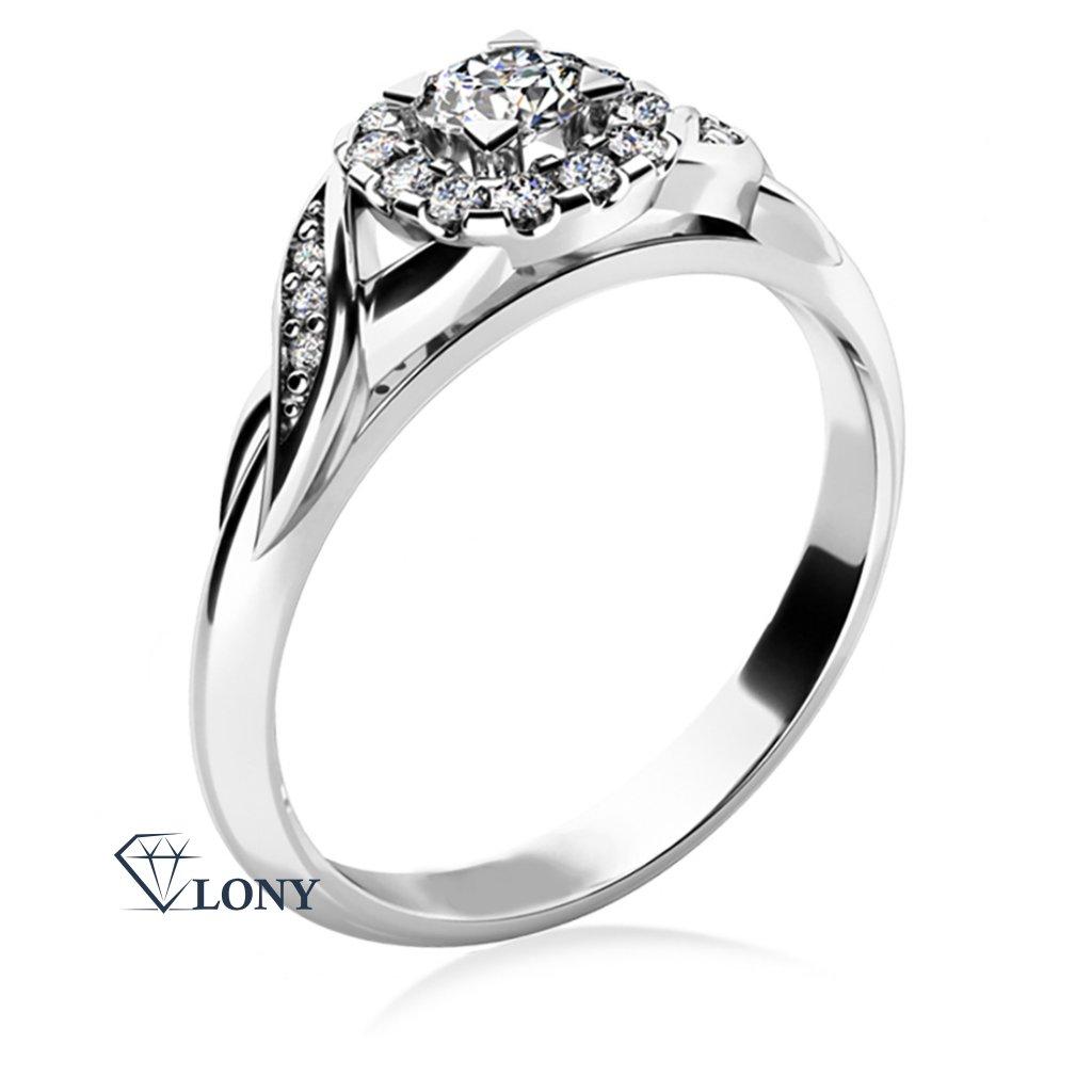 Zlatnictví LONY, zásnubní prsten z bílého zlata se zirkony