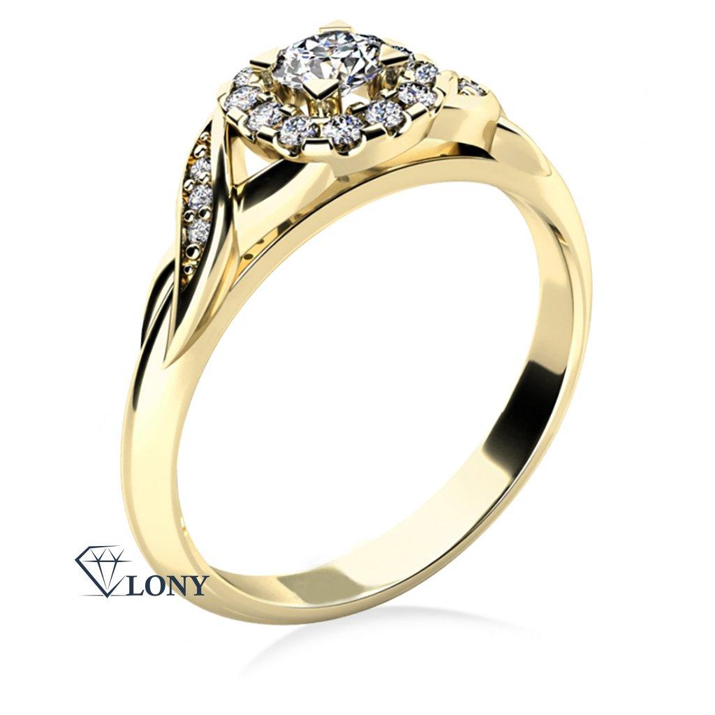 Zlatnictví LONY, zásnubní prsten ze žlutého zlata se zirkony