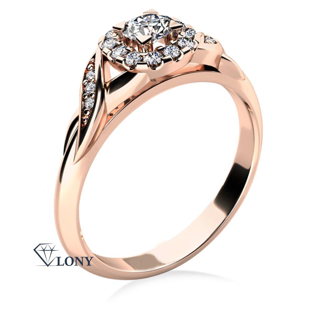 Zlatnictví LONY, zásnubní prsten z růžového zlata se zirkony