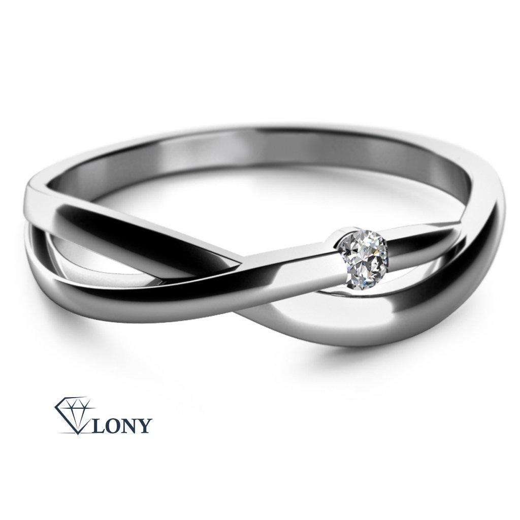 Zásnubní prsten Odette, bílé zlato s briliantem