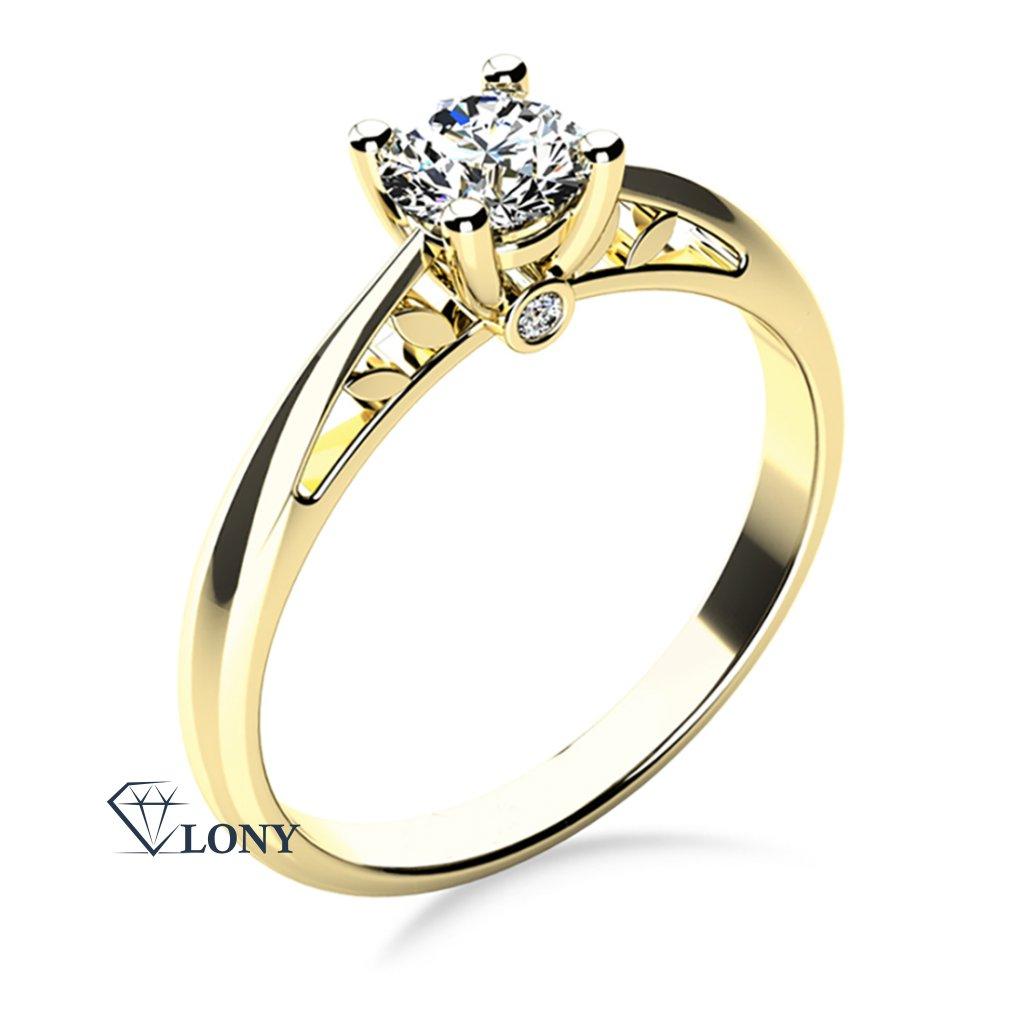 Zásnubní prsten, žluté zlato s brilianty