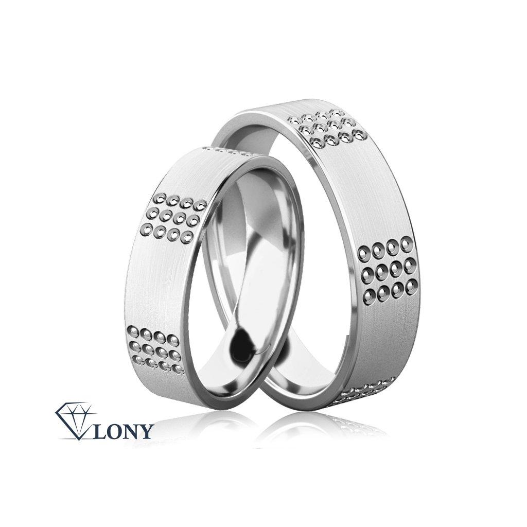 Zlatnictví LONY, snubní prsteny Emerson z bílého zlata