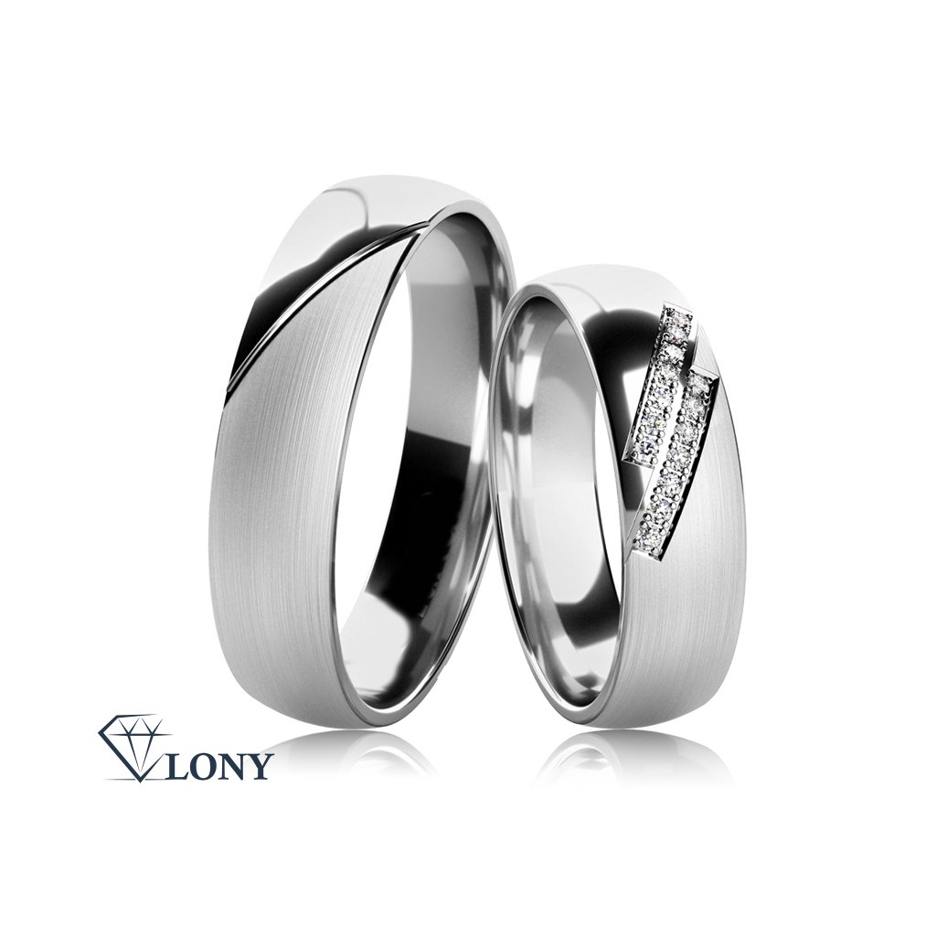 Snubní prsteny Carminis, bílé zlato a zirkony