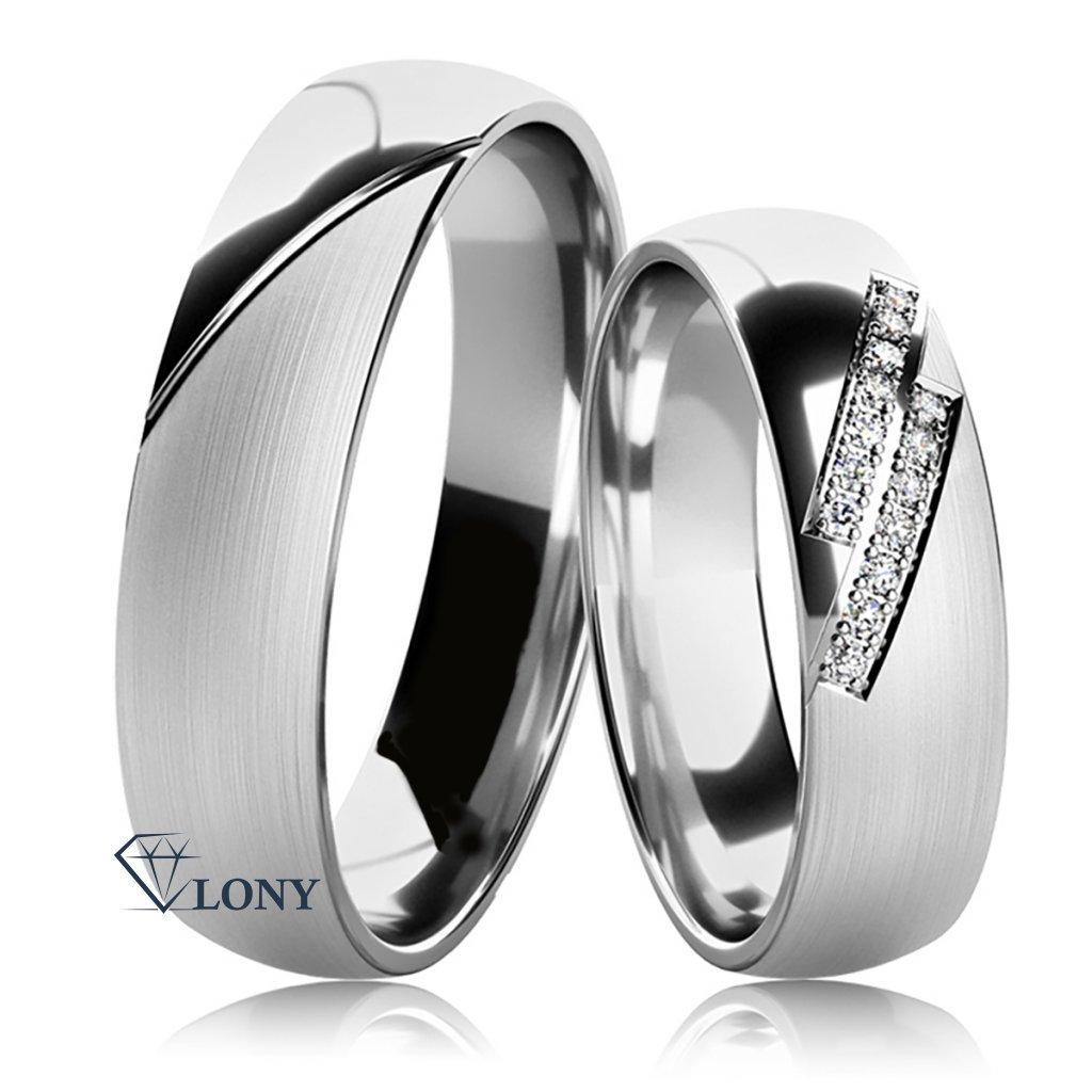 Snubní prsteny Carminis, stříbro a zirkony