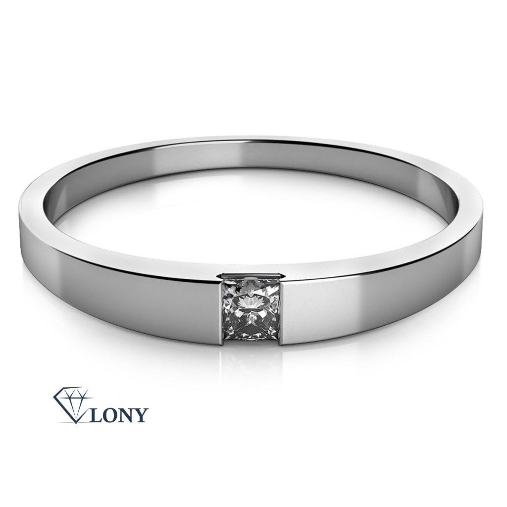 Minimalistický prsten Viki v bílém zlatě se zirkonem