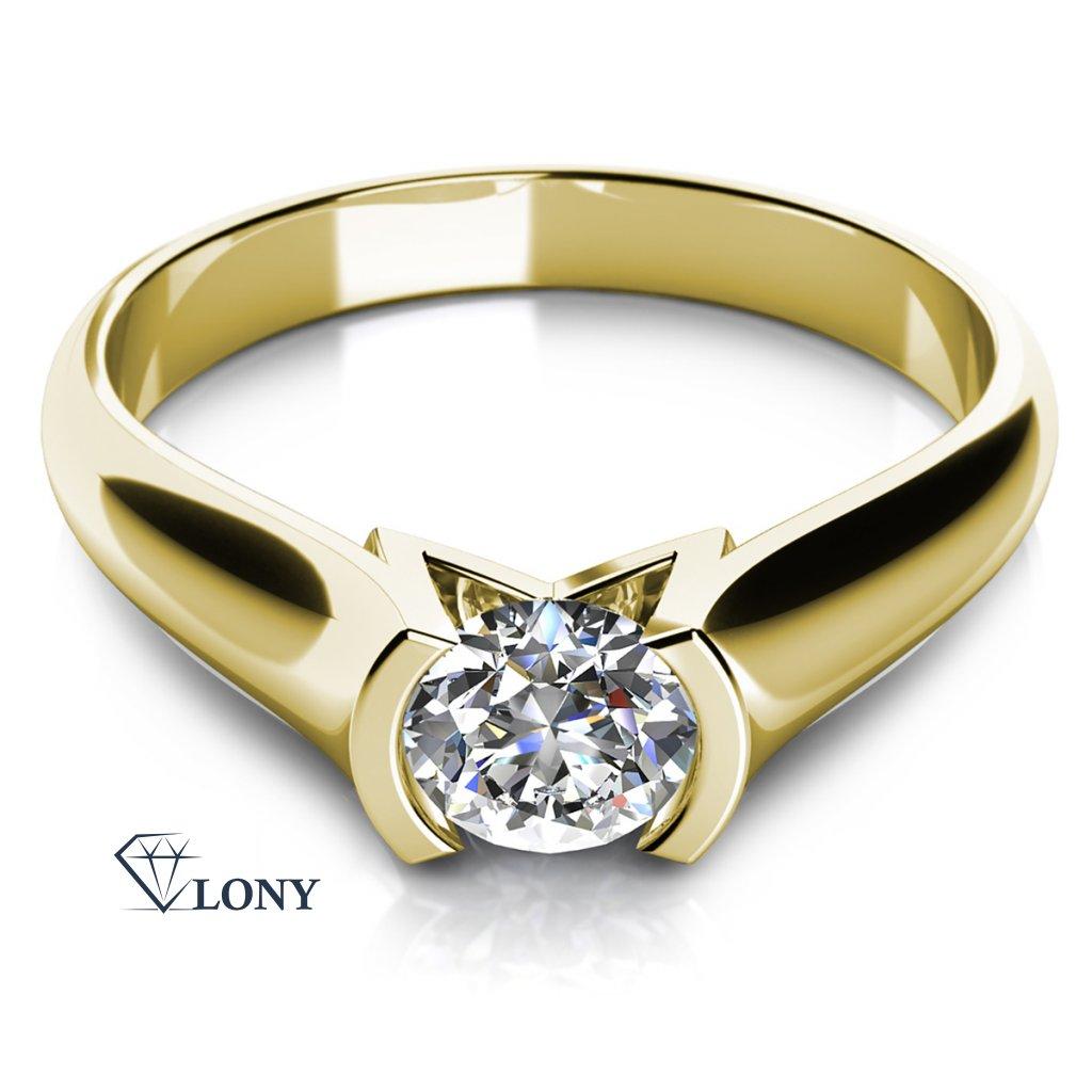 Prsten Zaria ze žlutého zlata se zirkony
