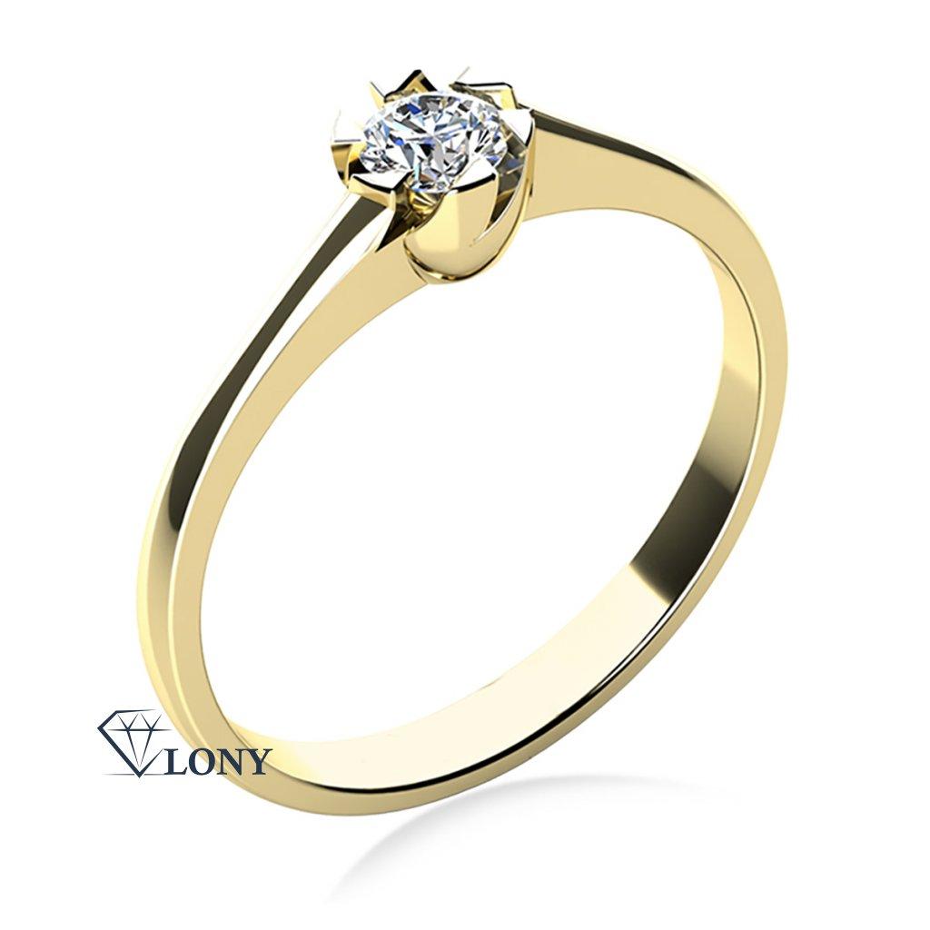 Prsten Jess, žluté zlato a zirkon