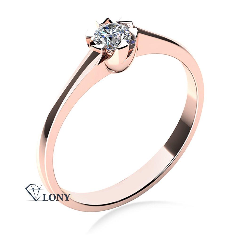 Prsten Jess, růžové zlato a zirkon
