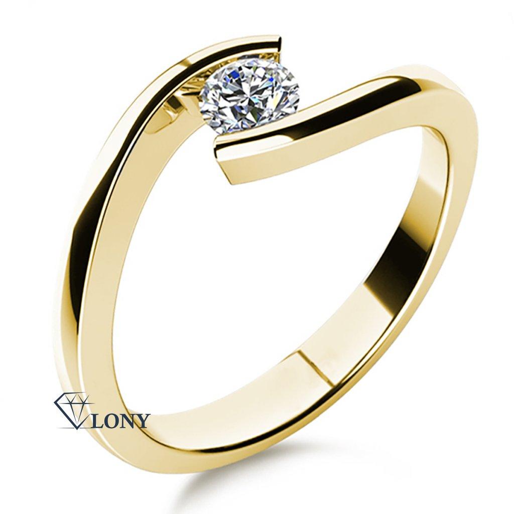 Minimalistický prsten Freya ze žlutého zlata se zirkonem