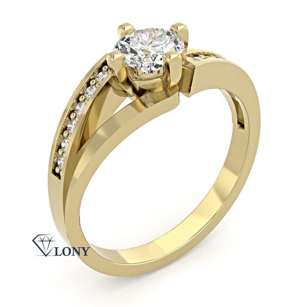 Zajímavý prsten Tilde, žluté zlato se zirkony