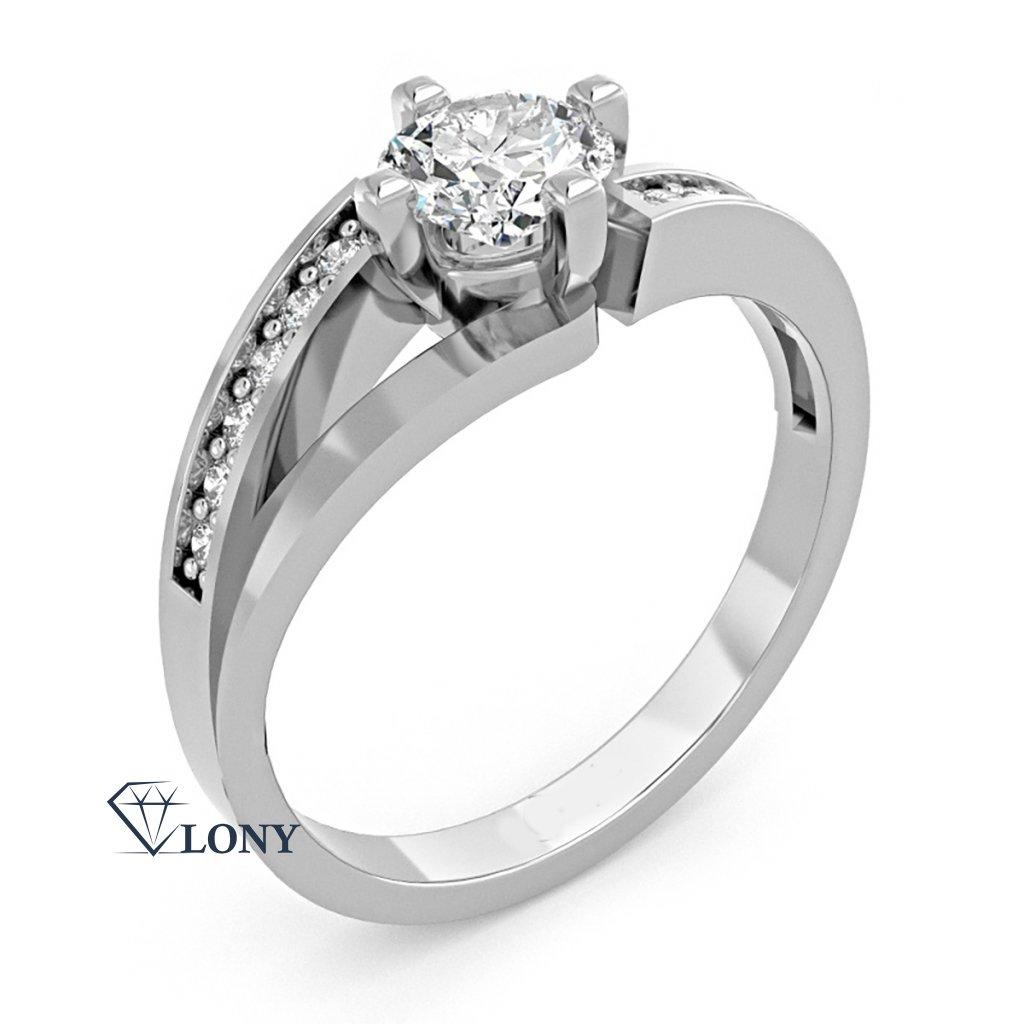 Zajímavý prsten Tilde, bílé zlato se zirkony