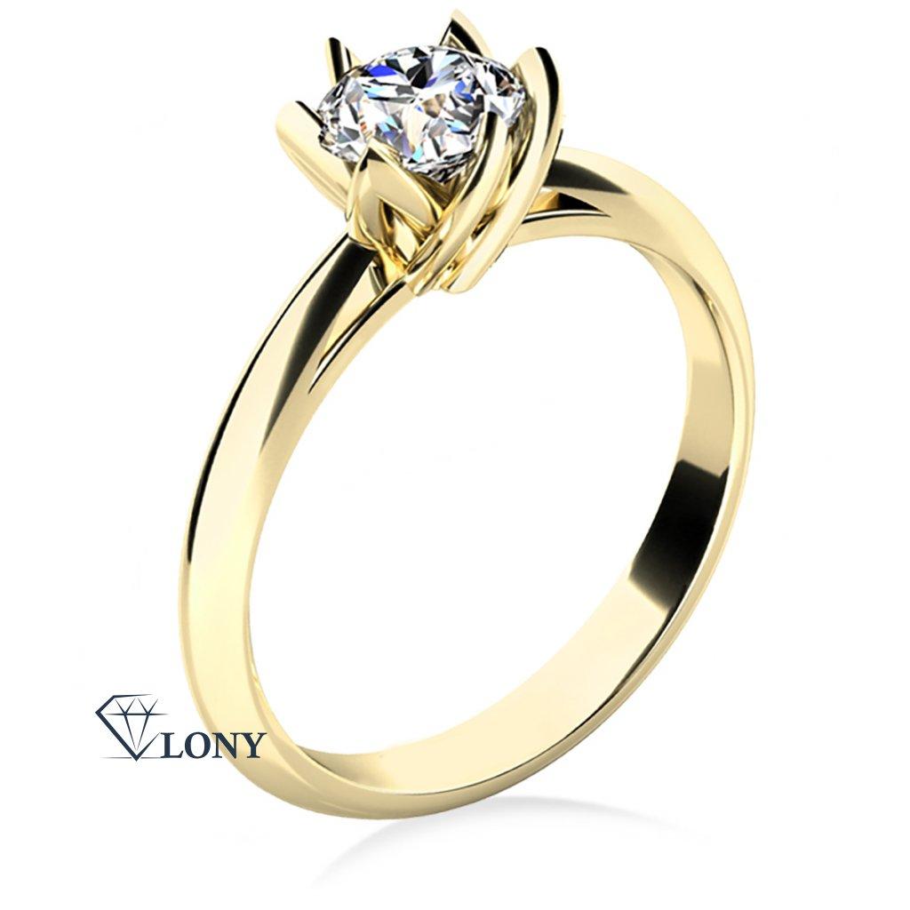 Prsten Lucille, žluté zlato s výrazným zirkonem
