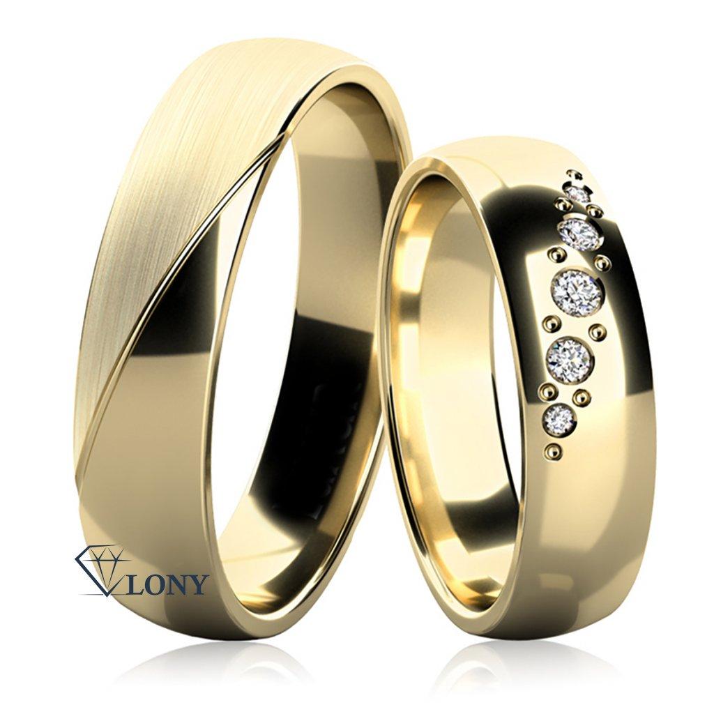 Snubní prsteny Balera ze žlutého  zlata s brilianty