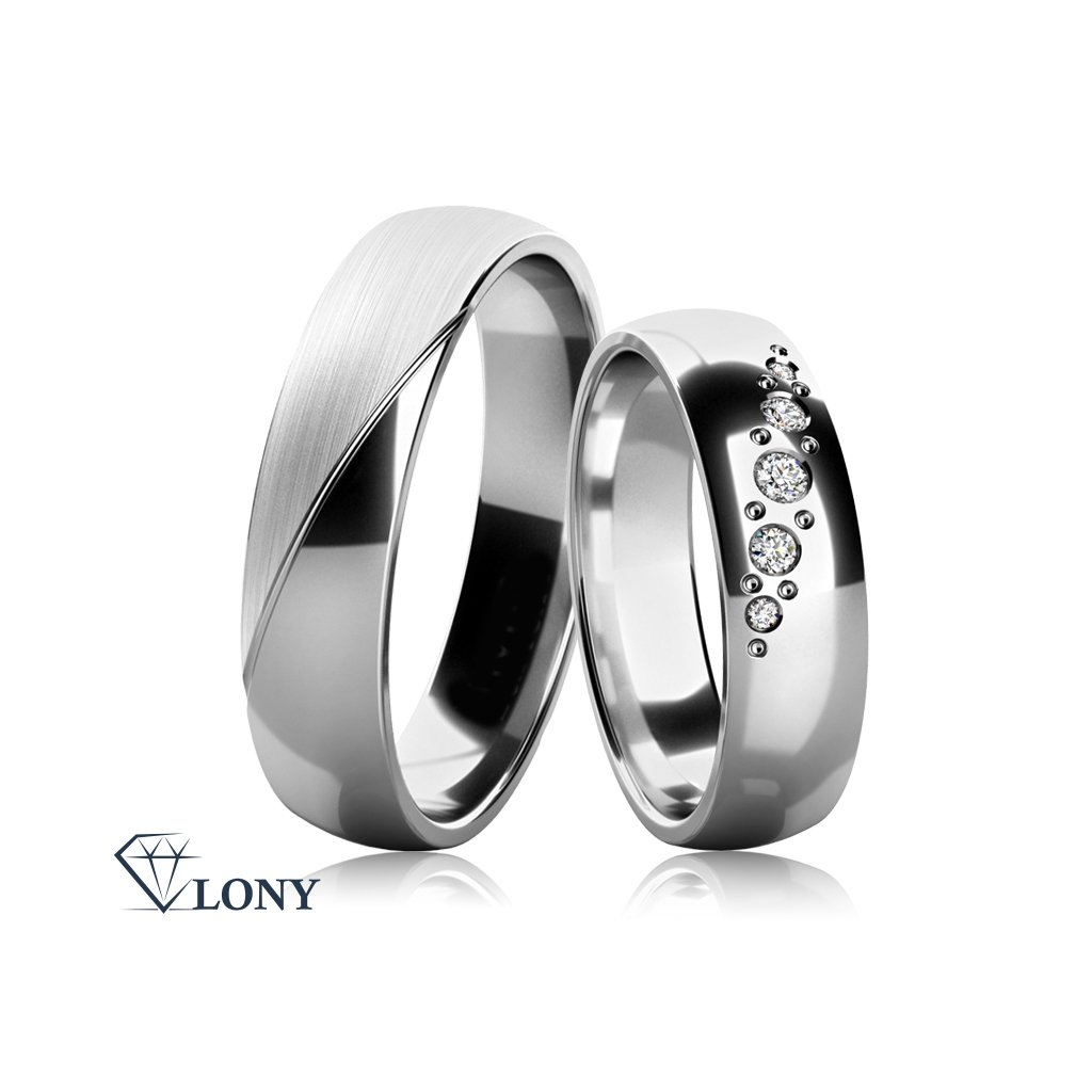 Snubní prsteny Balera z bílého zlata s brilianty