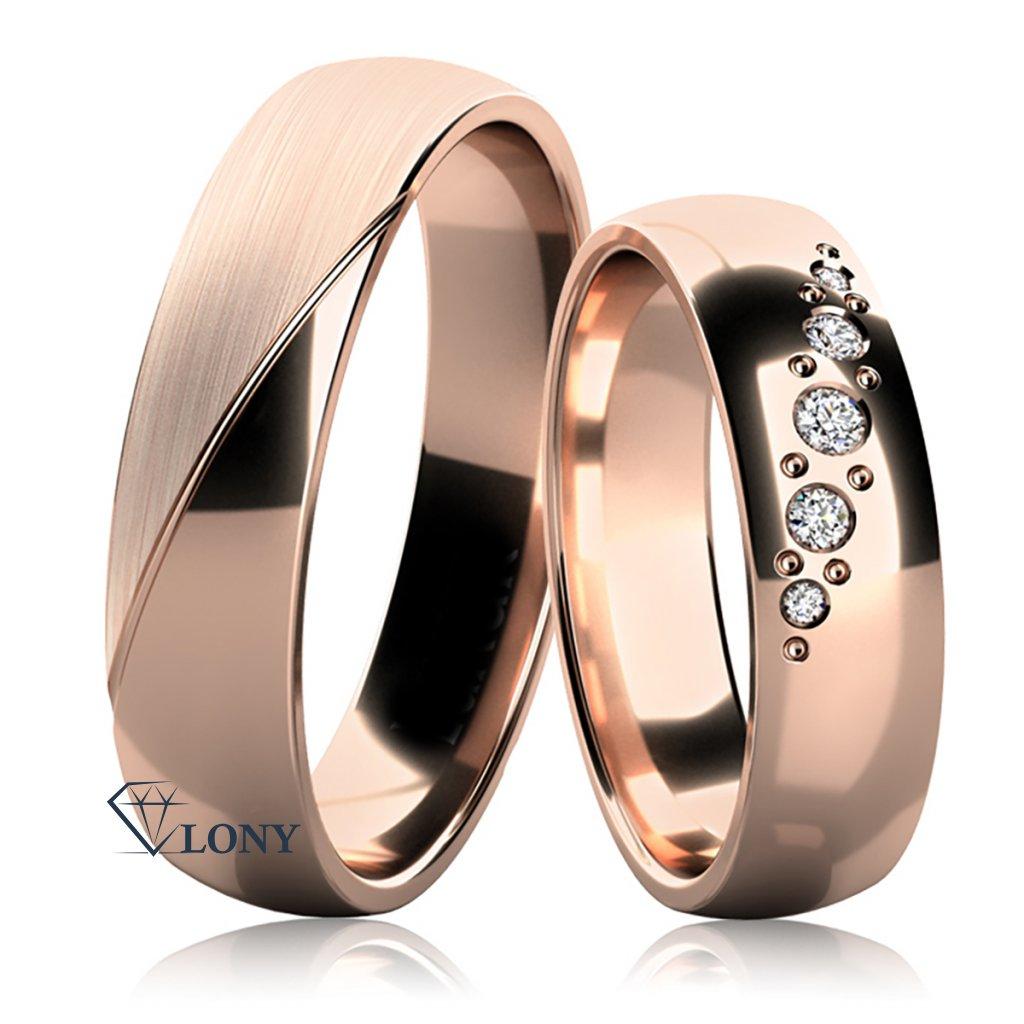 Snubní prsteny Balera z růžového  zlata s brilianty